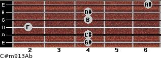 C#m9/13/Ab for guitar on frets 4, 4, 2, 4, 4, 6