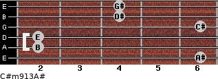 C#m9/13/A# for guitar on frets 6, 2, 2, 6, 4, 4