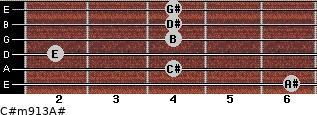 C#m9/13/A# for guitar on frets 6, 4, 2, 4, 4, 4