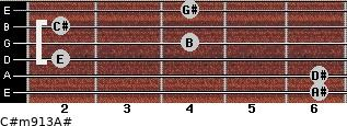 C#m9/13/A# for guitar on frets 6, 6, 2, 4, 2, 4