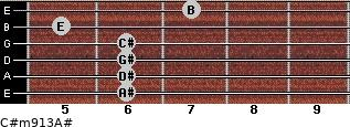 C#m9/13/A# for guitar on frets 6, 6, 6, 6, 5, 7