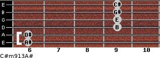 C#m9/13/A# for guitar on frets 6, 6, 9, 9, 9, 9