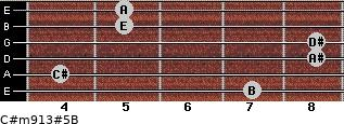 C#m9/13#5/B for guitar on frets 7, 4, 8, 8, 5, 5