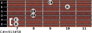 C#m9/13#5/B for guitar on frets 7, 7, 8, 8, 10, 9