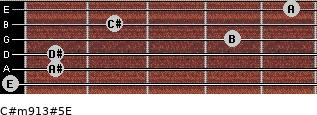 C#m9/13#5/E for guitar on frets 0, 1, 1, 4, 2, 5