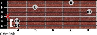 C#m9/Ab for guitar on frets 4, 4, x, 8, 5, 7