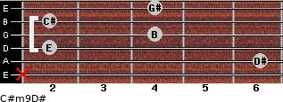C#m9/D# for guitar on frets x, 6, 2, 4, 2, 4