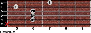 C#m9/D# for guitar on frets x, 6, 6, 6, 5, 7