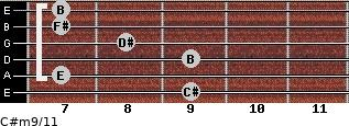 C#m9/11 for guitar on frets 9, 7, 9, 8, 7, 7