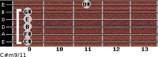 C#m9/11 for guitar on frets 9, 9, 9, 9, 9, 11