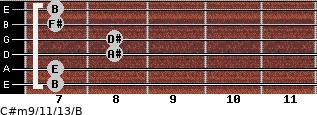 C#m9/11/13/B for guitar on frets 7, 7, 8, 8, 7, 7