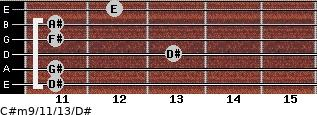 C#m9/11/13/D# for guitar on frets 11, 11, 13, 11, 11, 12