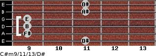 C#m9/11/13/D# for guitar on frets 11, 9, 9, 9, 11, 11