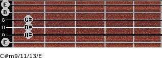C#m9/11/13/E for guitar on frets 0, 1, 1, 1, 0, 0