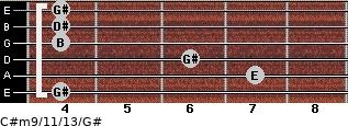 C#m9/11/13/G# for guitar on frets 4, 7, 6, 4, 4, 4