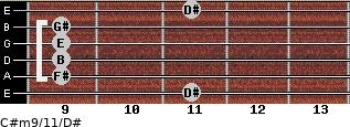 C#m9/11/D# for guitar on frets 11, 9, 9, 9, 9, 11