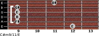 C#m9/11/E for guitar on frets 12, 9, 9, 9, 9, 11