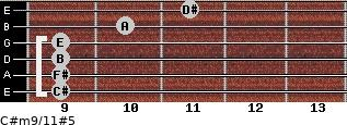 C#m9/11#5 for guitar on frets 9, 9, 9, 9, 10, 11