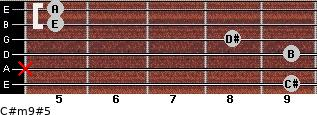 C#m9#5 for guitar on frets 9, x, 9, 8, 5, 5