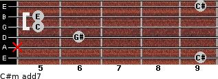 C#m(add7) for guitar on frets 9, x, 6, 5, 5, 9