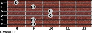 C#maj11 for guitar on frets 9, 9, 10, 10, 9, 8