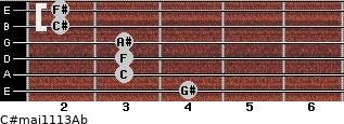 C#maj11/13/Ab for guitar on frets 4, 3, 3, 3, 2, 2