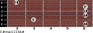 C#maj11/13/A# for guitar on frets 6, 3, 6, 6, 6, 2