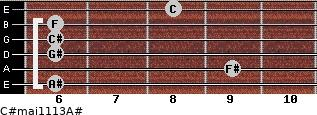 C#maj11/13/A# for guitar on frets 6, 9, 6, 6, 6, 8