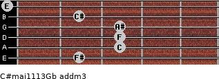 C#maj11/13/Gb add(m3) guitar chord