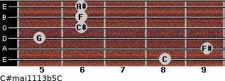 C#maj11/13b5/C for guitar on frets 8, 9, 5, 6, 6, 6