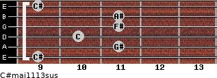 C#maj11/13sus for guitar on frets 9, 11, 10, 11, 11, 9