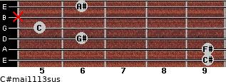 C#maj11/13sus for guitar on frets 9, 9, 6, 5, x, 6