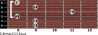 C#maj11/13sus for guitar on frets 9, 9, 8, 11, 9, 8