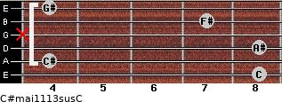 C#maj11/13sus/C for guitar on frets 8, 4, 8, x, 7, 4