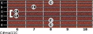 C#maj11/C for guitar on frets 8, 8, 6, 6, 7, 8