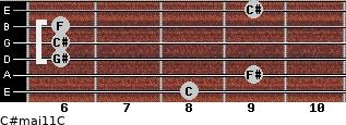 C#maj11/C for guitar on frets 8, 9, 6, 6, 6, 9