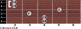 C#maj11/G# for guitar on frets 4, 4, 3, 5, 2, 2