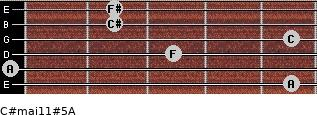 C#maj11#5/A for guitar on frets 5, 0, 3, 5, 2, 2