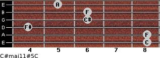 C#maj11#5/C for guitar on frets 8, 8, 4, 6, 6, 5