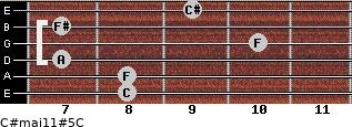C#maj11#5/C for guitar on frets 8, 8, 7, 10, 7, 9