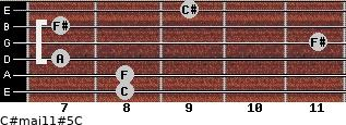 C#maj11#5/C for guitar on frets 8, 8, 7, 11, 7, 9