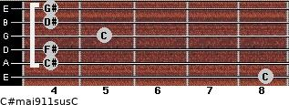 C#maj9/11sus/C for guitar on frets 8, 4, 4, 5, 4, 4