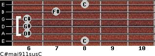 C#maj9/11sus/C for guitar on frets 8, 6, 6, 6, 7, 8
