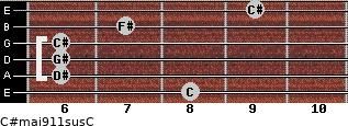 C#maj9/11sus/C for guitar on frets 8, 6, 6, 6, 7, 9