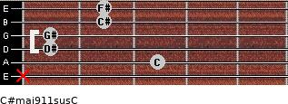 C#maj9/11sus/C for guitar on frets x, 3, 1, 1, 2, 2