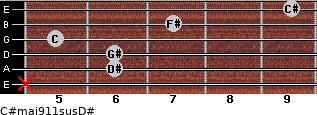 C#maj9/11sus/D# for guitar on frets x, 6, 6, 5, 7, 9