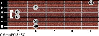 C#maj9/13b5/C for guitar on frets 6, 6, 5, 5, 6, 9