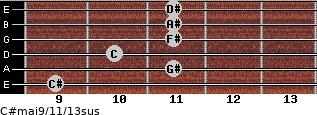C#maj9/11/13sus for guitar on frets 9, 11, 10, 11, 11, 11