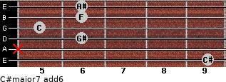 C#major7(add6) for guitar on frets 9, x, 6, 5, 6, 6