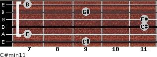 C#min11 for guitar on frets 9, 7, 11, 11, 9, 7